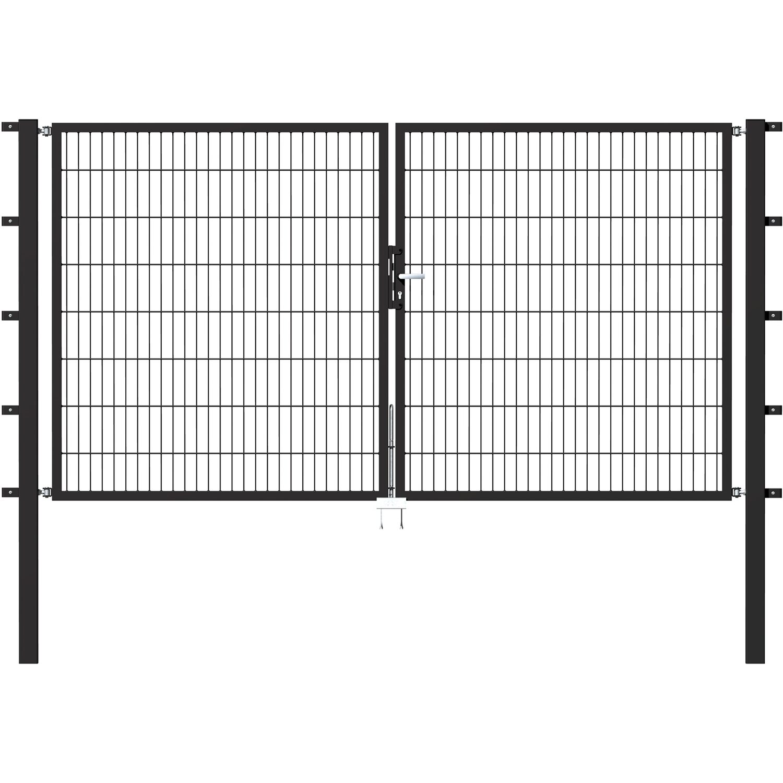Metallzaun Doppeltor Fur Doppelstabmatte Anthrazit 180 Cm X 300 Cm