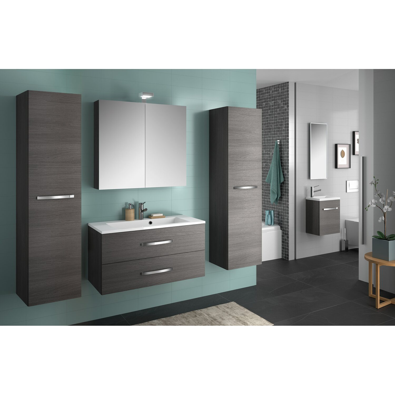 allibert badm bel set adept eiche grau 90 cm 5 teilig eek a kaufen bei obi. Black Bedroom Furniture Sets. Home Design Ideas