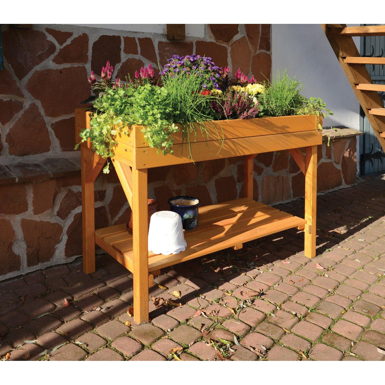 Pflanztisch honigfarben lasiert 120 cm x 85 cm x 60 cm for Garderobe 80 x 200