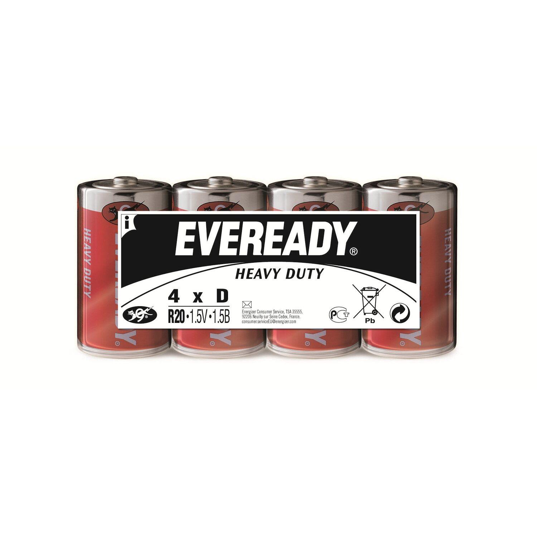 Eveready  Heavy Duty Kohle-Zink Batterie Mono D 4 Stück