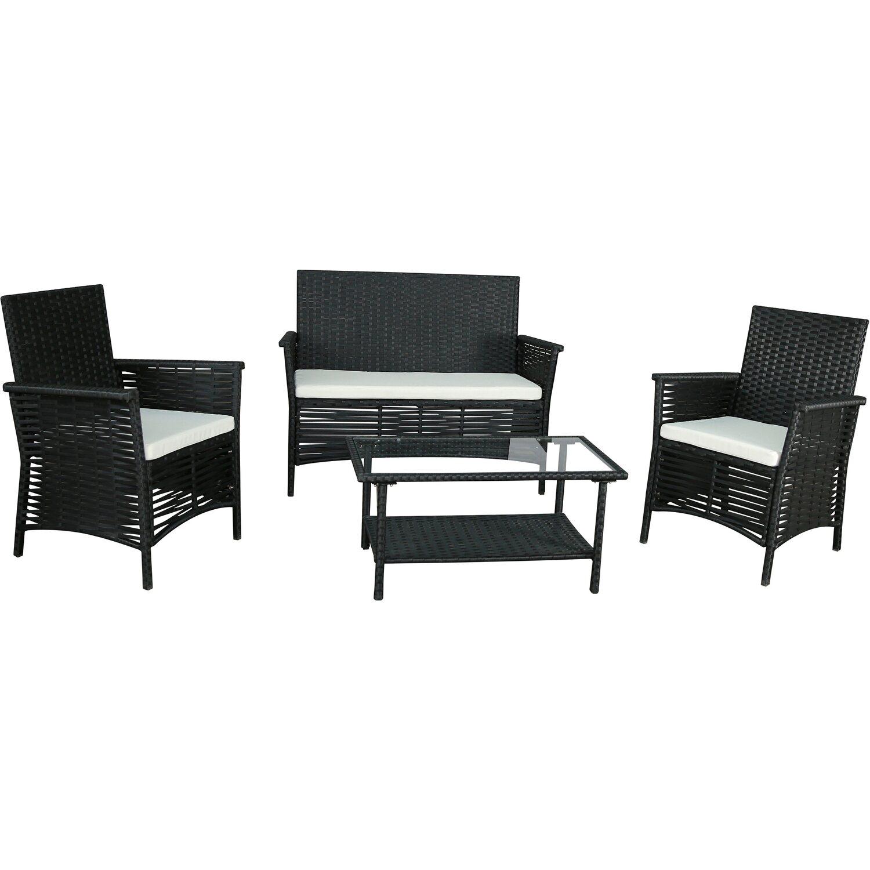 gartenfreude sitzgruppe polyrattan 7 tlg schwarz kaufen bei obi. Black Bedroom Furniture Sets. Home Design Ideas