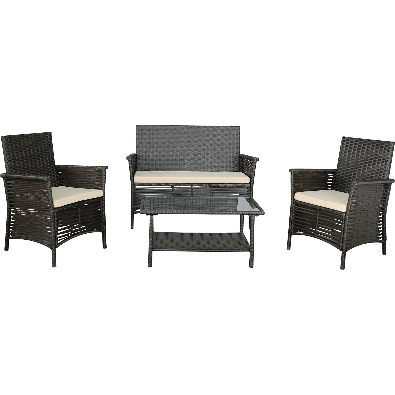 gartenfreude sitzgruppe polyrattan 7 tlg bicolour braun kaufen bei obi. Black Bedroom Furniture Sets. Home Design Ideas