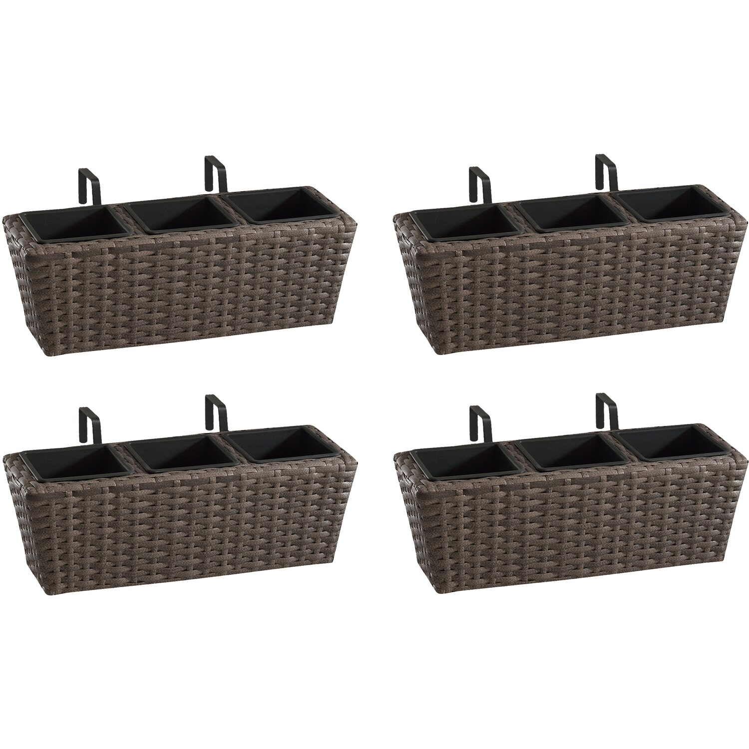 gartenfreude balkonkasten polyrattan 47 cm x 17 cm cappuccino 4er set kaufen bei obi. Black Bedroom Furniture Sets. Home Design Ideas
