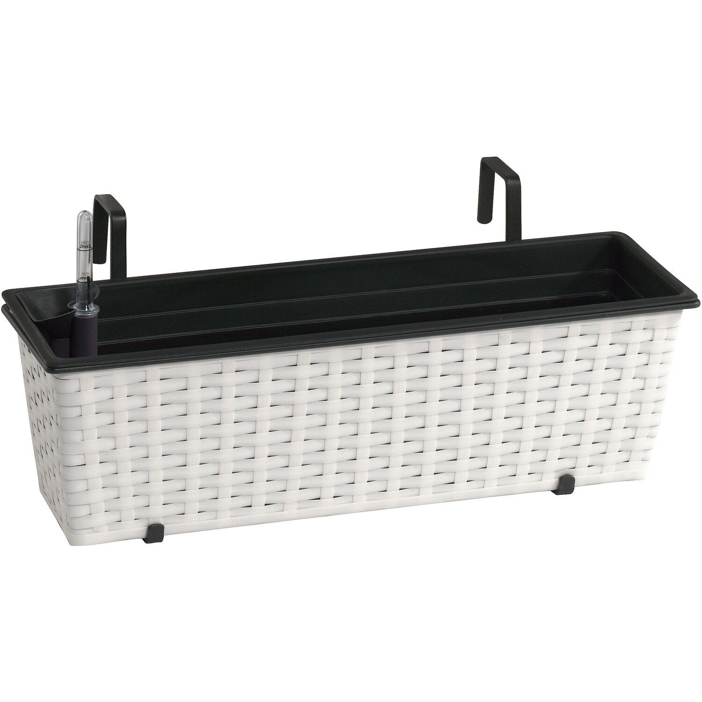 gartenfreude balkonkasten polyrattan 50 cm x 19 cm wei mit bew sserungssystem kaufen bei obi. Black Bedroom Furniture Sets. Home Design Ideas