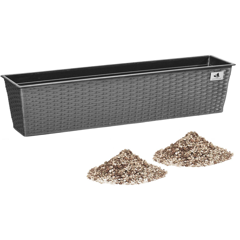 gartenfreude balkonkasten polyrattan 80 cm x 19 cm grau mit bew sserungssystem kaufen bei obi. Black Bedroom Furniture Sets. Home Design Ideas