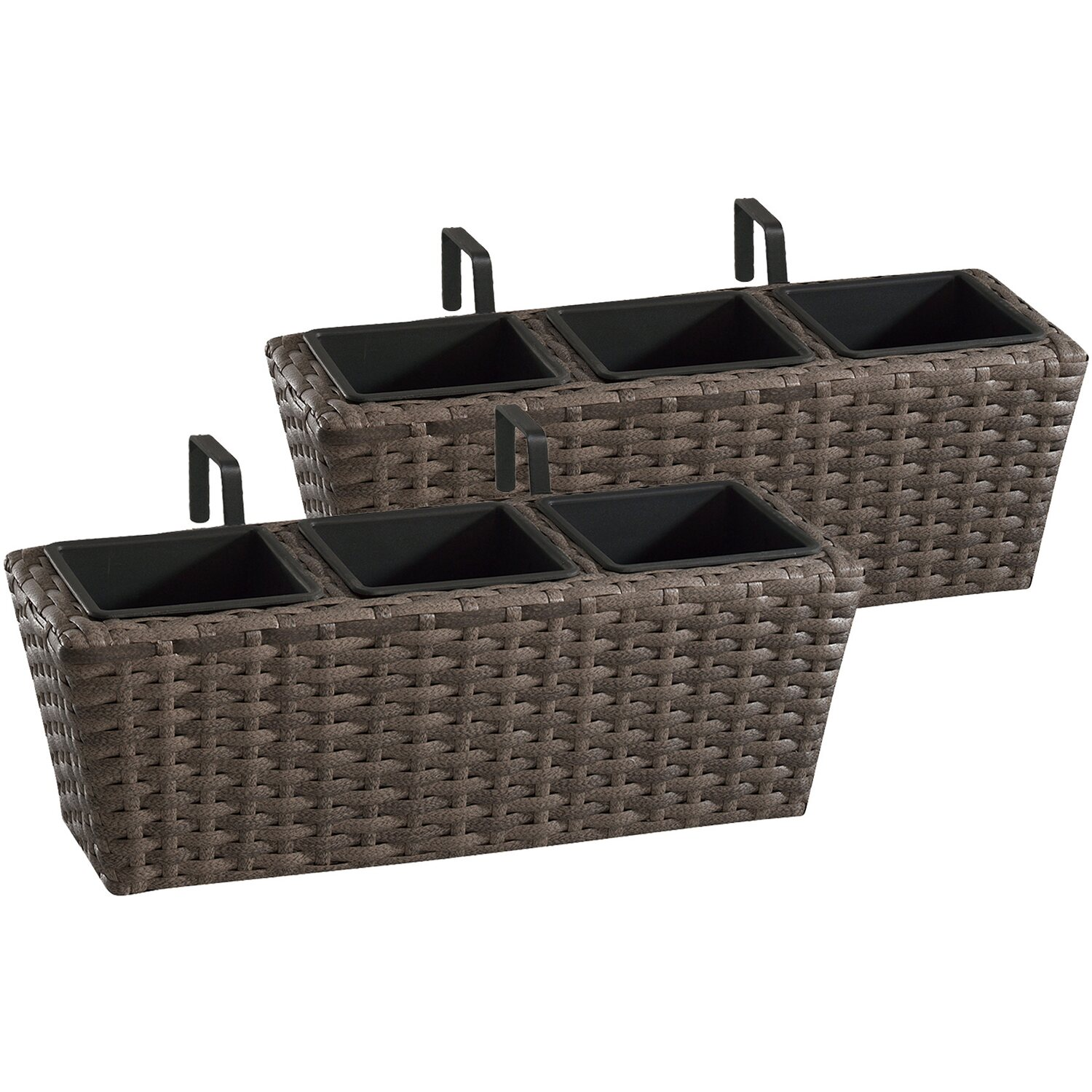 gartenfreude balkonkasten polyrattan 47 cm x 17 cm cappuccino 2 st ck kaufen bei obi. Black Bedroom Furniture Sets. Home Design Ideas