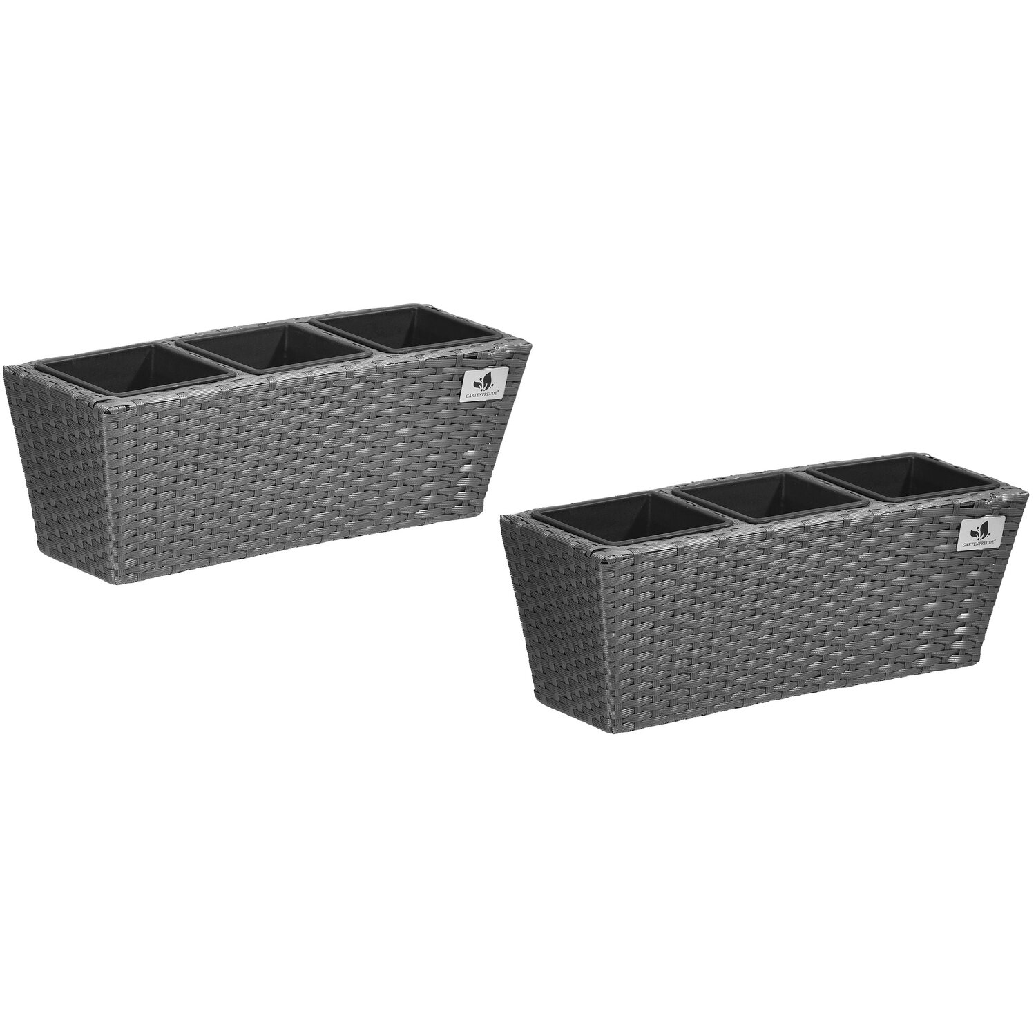 gartenfreude balkonkasten polyrattan inkl aufh ngung 47 cm x 17 cm grau 2 st ck kaufen bei obi. Black Bedroom Furniture Sets. Home Design Ideas