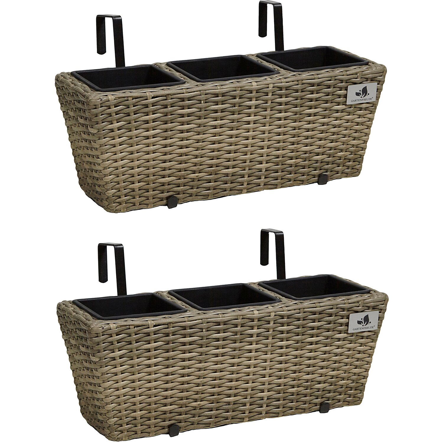 gartenfreude balkonkasten polyrattan 47 cm x 17 cm naturfarben 2 st ck kaufen bei obi. Black Bedroom Furniture Sets. Home Design Ideas