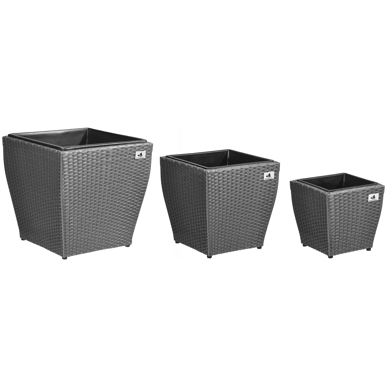 gartenfreude pflanzk bel polyrattan grau gr e l 3er set kaufen bei obi. Black Bedroom Furniture Sets. Home Design Ideas