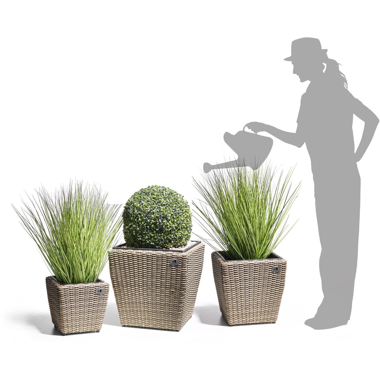 gartenfreude pflanzk bel polyrattan naturfarben gr e l 3er set kaufen bei obi. Black Bedroom Furniture Sets. Home Design Ideas