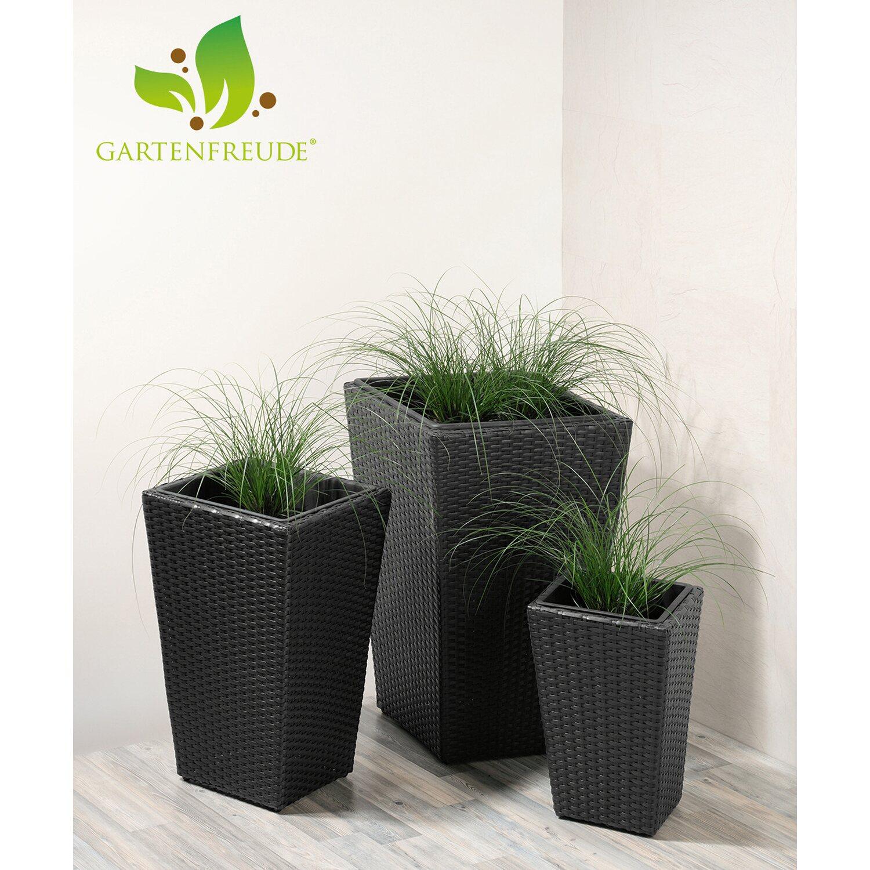 Gartenfreude Pflanzkübel Polyrattan Schwarz Größe XL 3er-Set kaufen ...