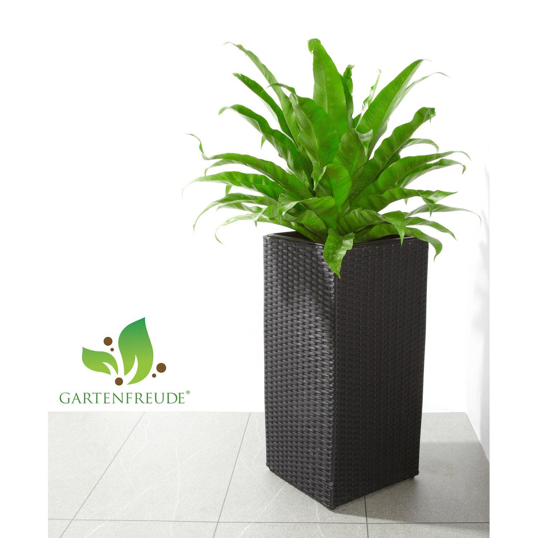 gartenfreude pflanzk bel polyrattan 28 cm x 28 cm x 60 cm schwarz kaufen bei obi. Black Bedroom Furniture Sets. Home Design Ideas