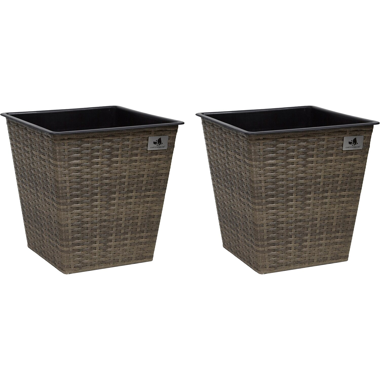 gartenfreude pflanzk bel polyrattan konisch 32 cm x 32 cm cappuccino 2er set kaufen bei obi. Black Bedroom Furniture Sets. Home Design Ideas