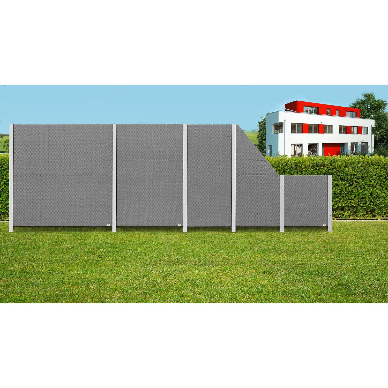 Gartenfreude Sichtschutzzaun Element Ambience Polyrattan Grau 180