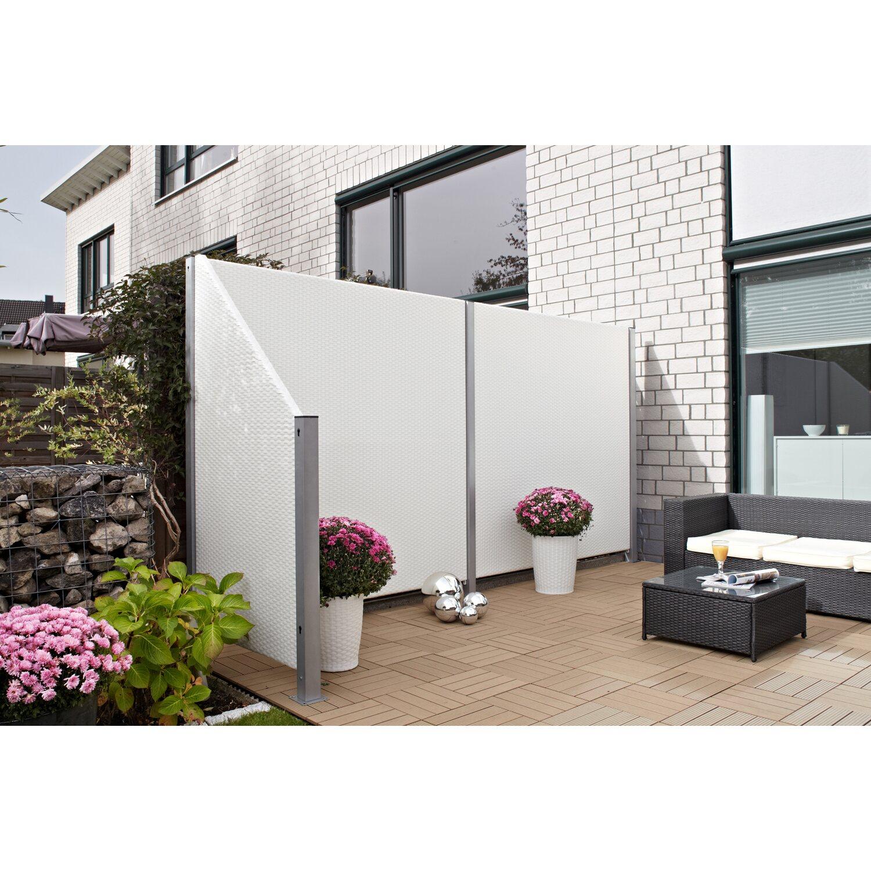 Gartenfreude Sichtschutzzaun Element Ambience Polyrattan Weiss 90 Cm