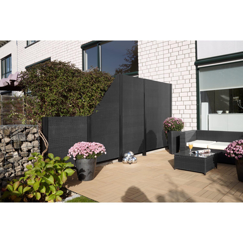 Gartenfreude Sichtschutzzaun Element Ambience Polyrattan Anthrazit