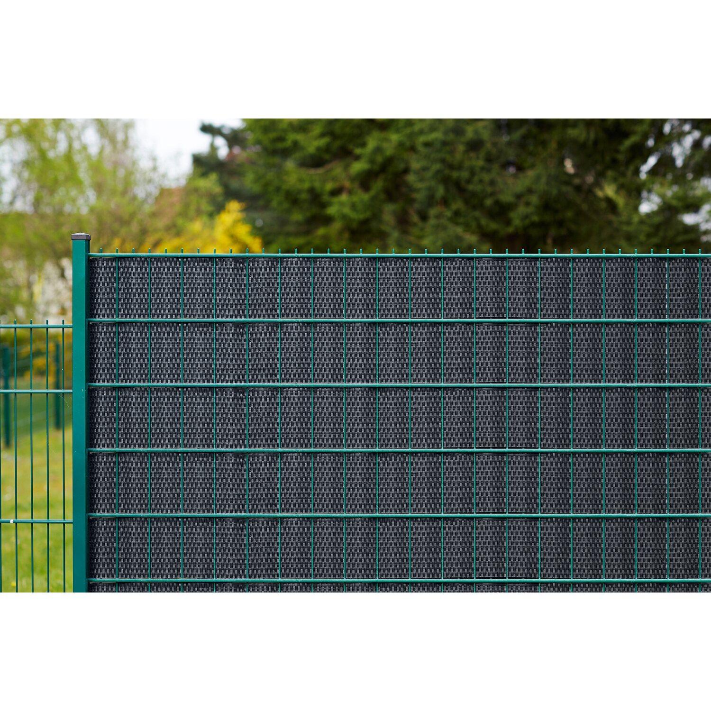 Kunststoff Sichtschutzstreifen Polyrattan Anthrazit 255 Cm X 19 Cm
