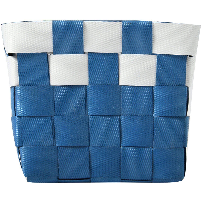 Aufbewahrungskorb PP-Geflecht Blau-Weiß 10 cm x 10 cm x 7,5 cm
