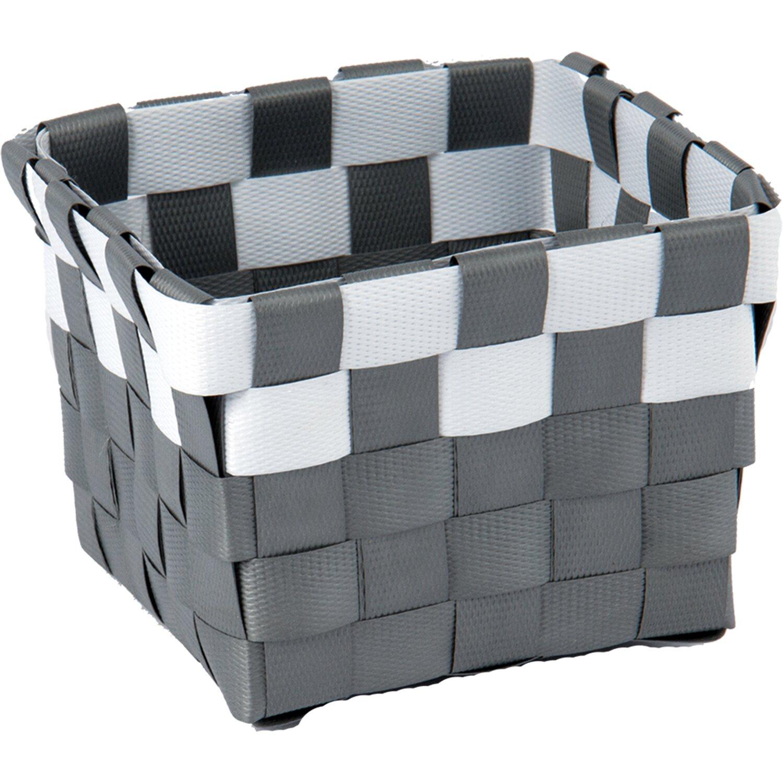 Aufbewahrungskorb PP-Geflecht Grau-Weiß 10 cm x 10 cm x 7,5 cm