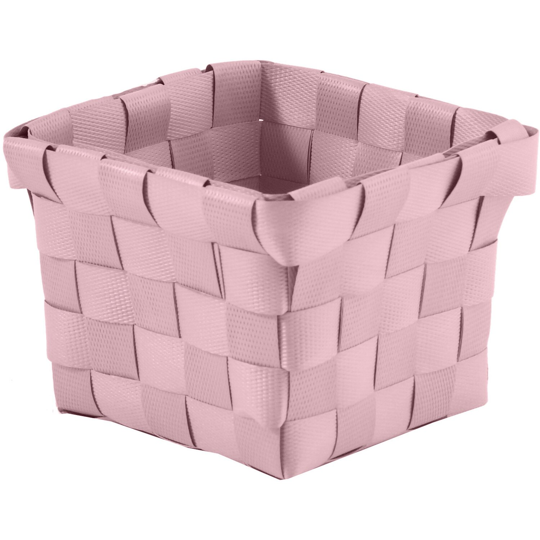 Aufbewahrungskorb PP-Geflecht Pastellrosa 10 cm x 10 cm x 7,5 cm