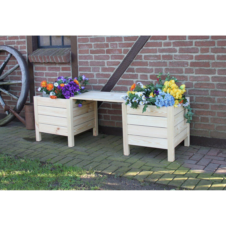 blumenbank mit 2 pflanzk sten natur kaufen bei obi. Black Bedroom Furniture Sets. Home Design Ideas