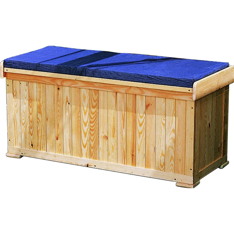 garten truhenbank 2 sitzer mit blauer sitzauflage kaufen. Black Bedroom Furniture Sets. Home Design Ideas