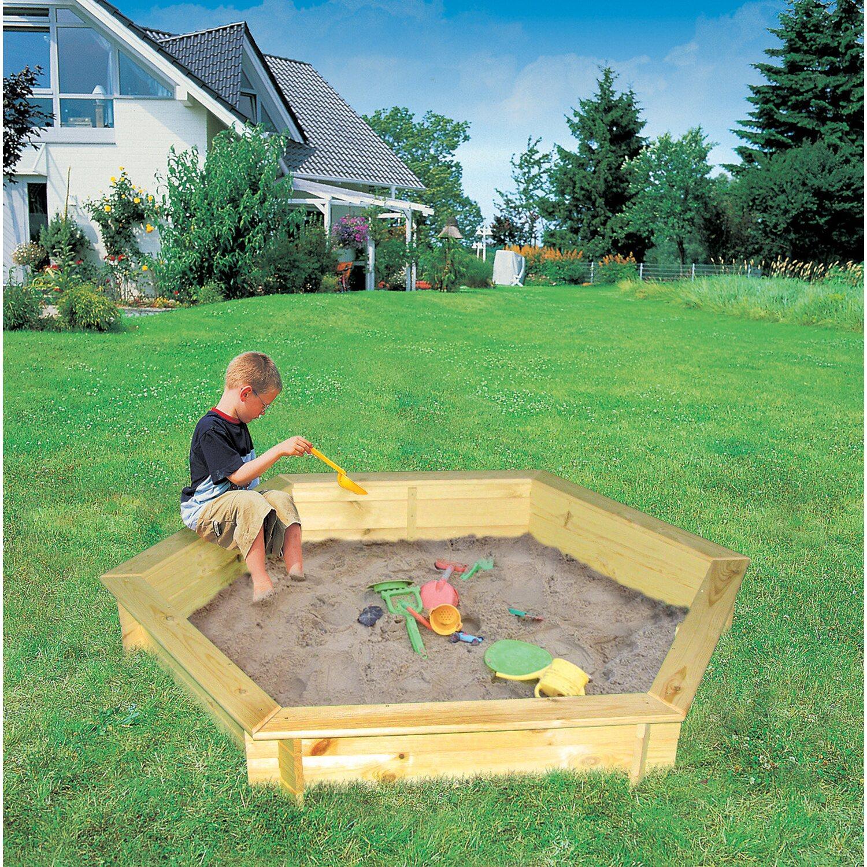 Sandkasten fynja sechseckig 173 cm x 148 cm x 21 cm mit for Abdeckplane obi