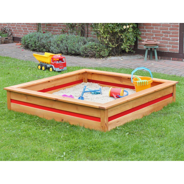 Sandkasten CYO 126 cm x 126 cm x 25 cm Honigbraun/Rot   Kinderzimmer > Spielzeuge > Sandkästen   Braun   Nadelholz fsc   Promadino