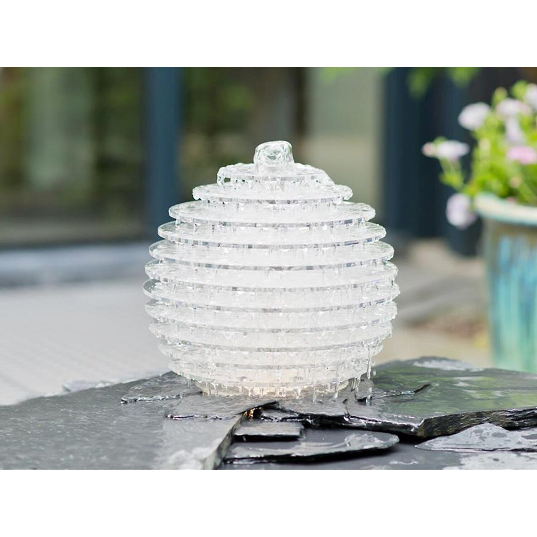 AcquaArte  Gartenbrunnen-Set Galia 32 cm x 30 cm x 30 cm LED Acryl / Edelstahl