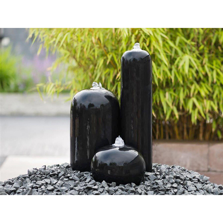 AcquaArte  Gartenbrunnen-Set Arezzo 50 cm hoch LED Schwarz