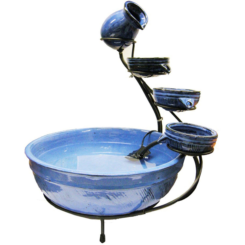AcquaArte  Terrassenbrunnen-Set Wasserschalen Ø 45 cm Keramik Blau