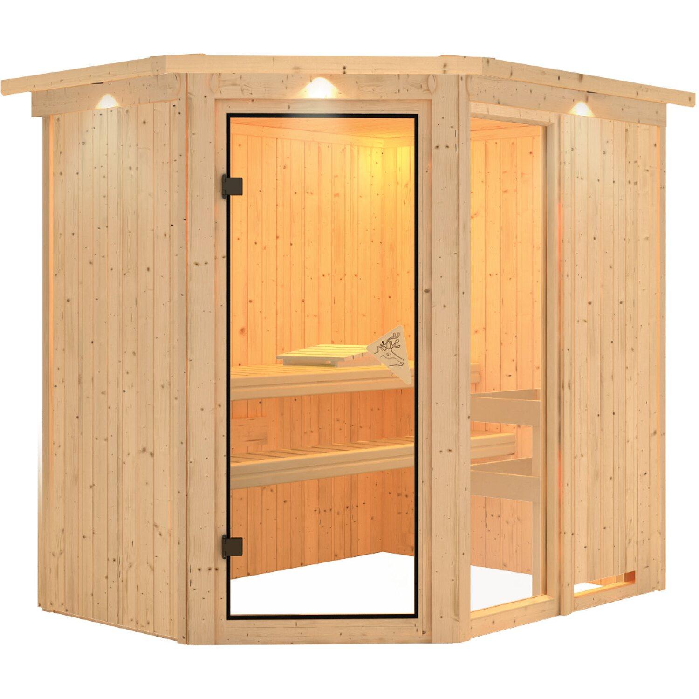 Karibu Sauna Fiona 1 Mit Eckeinstieg Ganzglastur Bronze Dachkranz