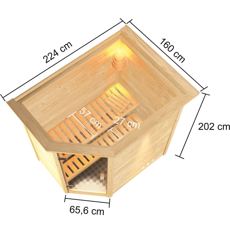 Karibu Sauna Cilja Mit Eckeinstieg Glastur Dachkranz Kaufen Bei Obi