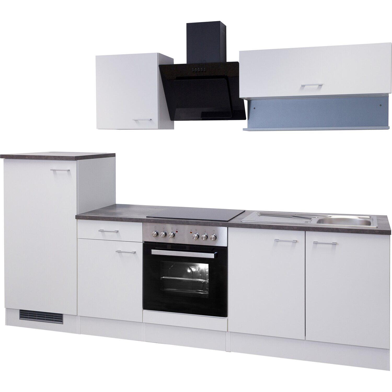 Flex-Well Küchenzeile Lucca 270 cm Weiß mit Kopffreihaube inkl ...