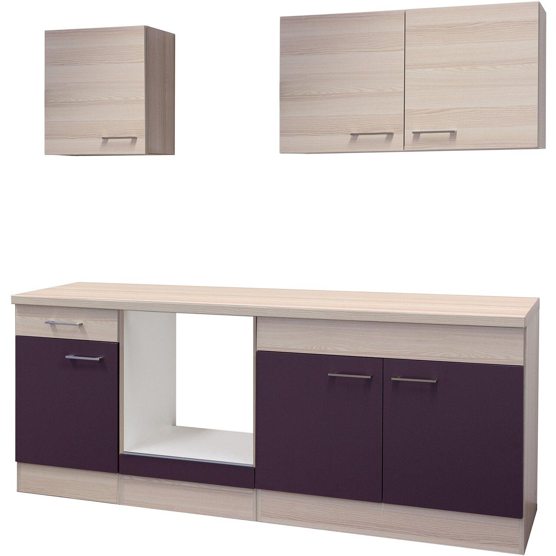Flex Well Küchenzeile 210 Cm Ohne E Geräte Focus Akazie/Aubergine   Akazie