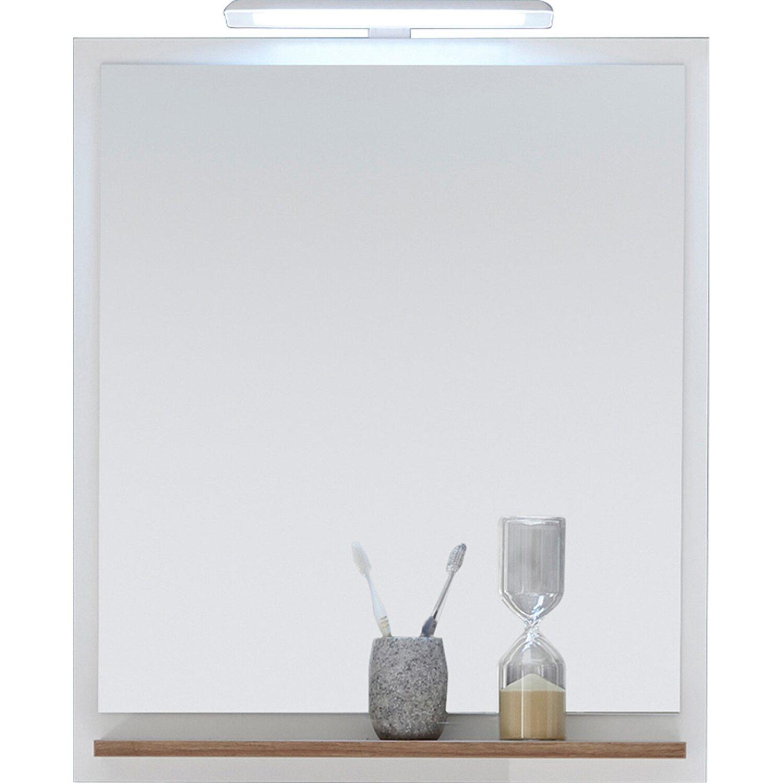 Extrem Pelipal Bad-Spiegel Noventa 74 cm x 60 cm x 15,5 cm Weiß-Eiche OG25