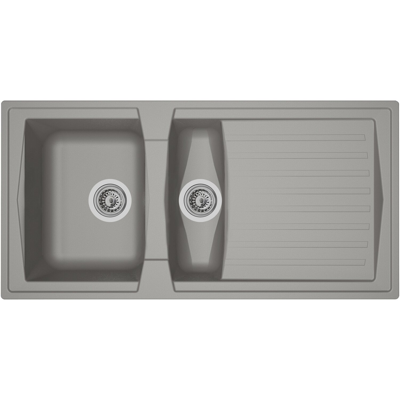 Respekta Mineralite Einbauspüle Boston 100 x 50 cm Betongrau | Küche und Esszimmer > Spülen > Einbauspülen | Grau | Respekta