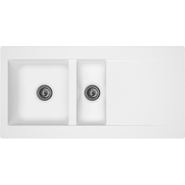 Respekta Mineralite Einbauspüle Denver 100 x 50 cm Weiß | Küche und Esszimmer > Spülen > Einbauspülen | Weiß | Respekta