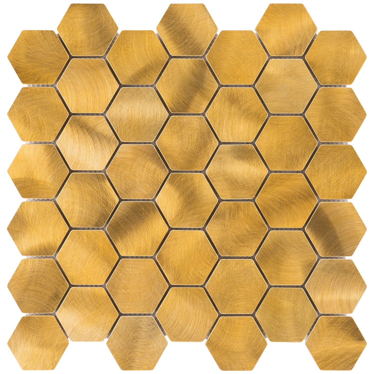 mosaik aluminium gold hexagon 30 cm x 30 cm kaufen bei obi. Black Bedroom Furniture Sets. Home Design Ideas