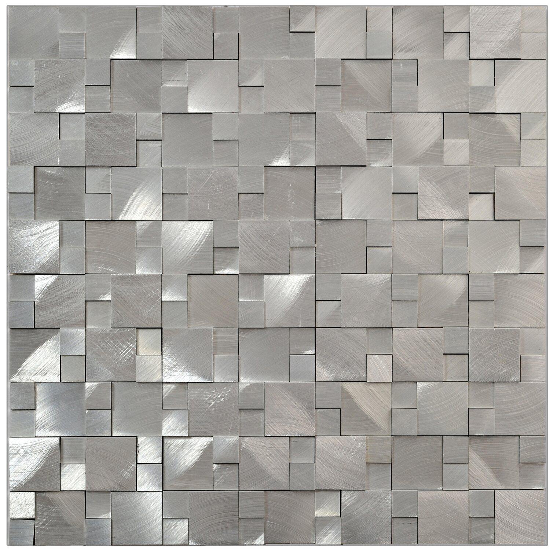mosaik aluminium silver 3d 30 cm x 31 5 cm kaufen bei obi. Black Bedroom Furniture Sets. Home Design Ideas
