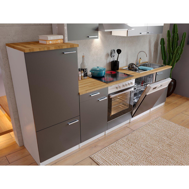 respekta economy k chenzeile kb280wgc 280 cm grau wei. Black Bedroom Furniture Sets. Home Design Ideas