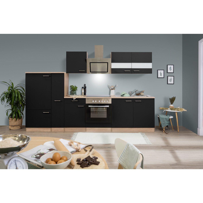 respekta economy k chenzeile kb300esss 300 cm schwarz. Black Bedroom Furniture Sets. Home Design Ideas