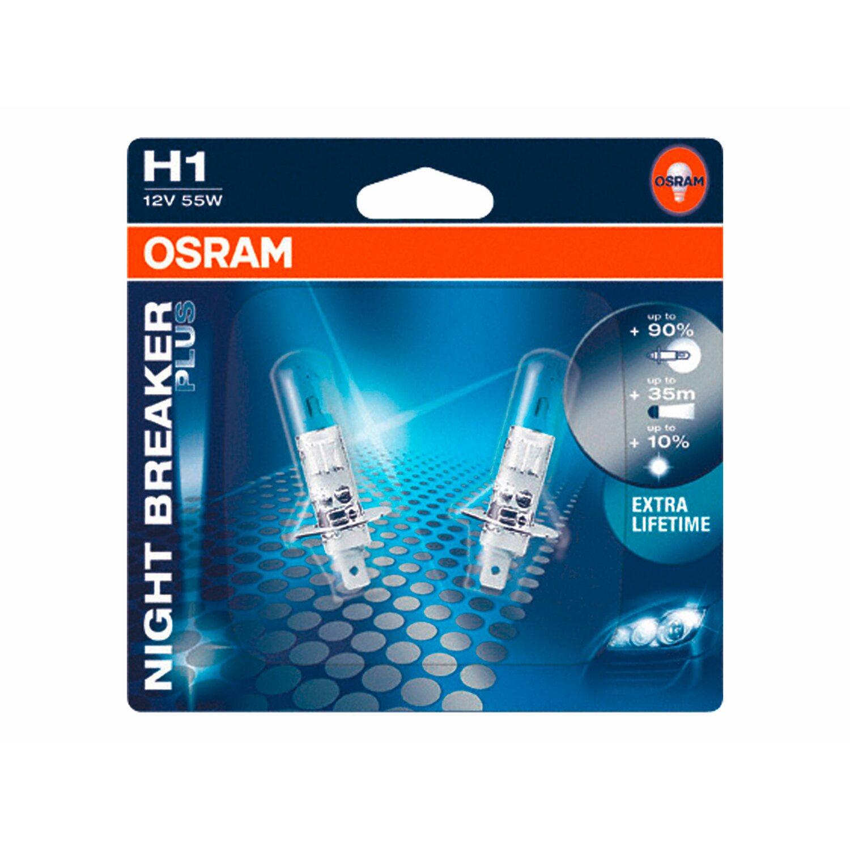 osram h1 halogen scheinwerferlampe night breaker plus 2er. Black Bedroom Furniture Sets. Home Design Ideas