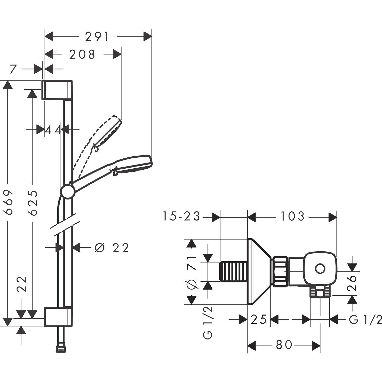 Hansgrohe Thermostat Set Crometta 100 Vario Mit 4 Strahlarten Weiss