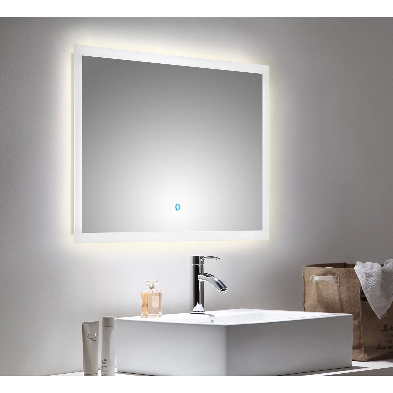 led lichtspiegel 90x60 cm neutralwei mit touch bedienung. Black Bedroom Furniture Sets. Home Design Ideas