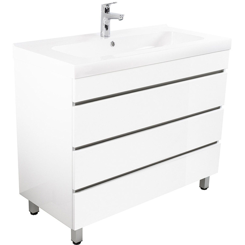 Emotion  Stand-Waschplatz 90 cm Metis Weiß Hochglanz mit grifflosen Schubladen