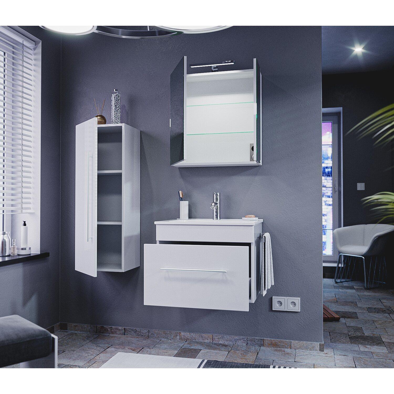 Emotion  Badmöbel Komplett-Set EEK:A++ Pro 60 cm Weiß Hochglanz 9-teilig