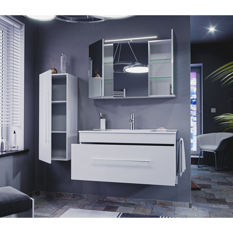Emotion  Badmöbel Komplett-Set EEK:A++ Pro 100 cm Weiß Hochglanz 9-teilig