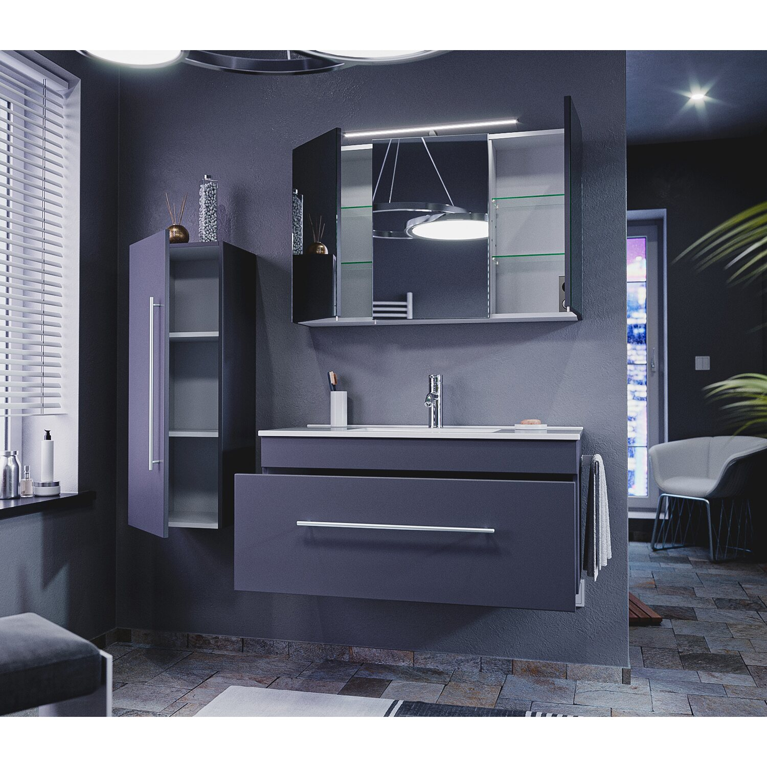 emotion badm bel komplett set pro 100 cm anthrazit. Black Bedroom Furniture Sets. Home Design Ideas