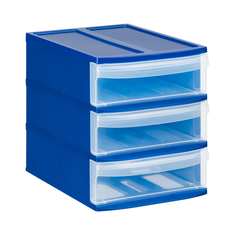 rotho schubladenbox tower blau natur 3 sch be kaufen bei obi. Black Bedroom Furniture Sets. Home Design Ideas